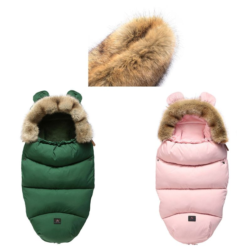 Baby Stroller Sleeping Bag Warm Anti-Kicking Footmuff With Removable Faux Fur 19QF
