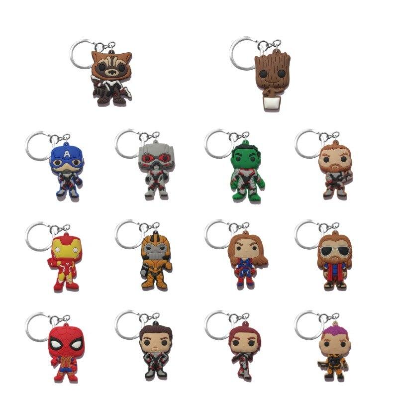 Chaveiro vingadores de pvc com 4 super-heróis, anel de mini anime, figura e chaveiro, presente para crianças, 20 pçs/lote lembranças de festa
