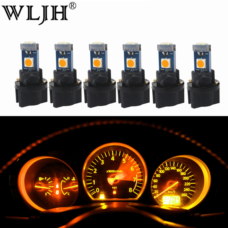 WLJH 6x T5 LED Bulb Canbus 74 2721 73 Twist Socket Replacement for Instrument Panel Gauster Cluster Dash Speedometer Lamp Bulb