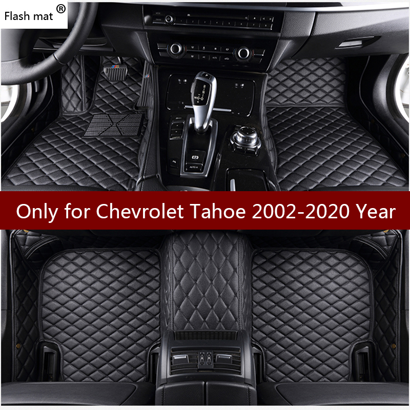 Flash mat leather car floor mats for Chevrolet Chevy <font><b>Tahoe</b></font> 5 seats 2002-2018 2019 Custom auto foot Pads automobile carpet covers image