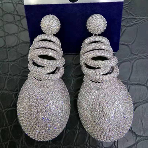 Image 1 - GODKI 63mm x 27mm Fashion AAA Cubic Zirconia Brilliant Elegand Flower Earrings for Women Earring Fashion Jewelry