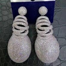 GODKI boucles doreilles en zircone cubique pour femmes, élégantes et à la mode, bijoux 63mm x 27mm, AAA