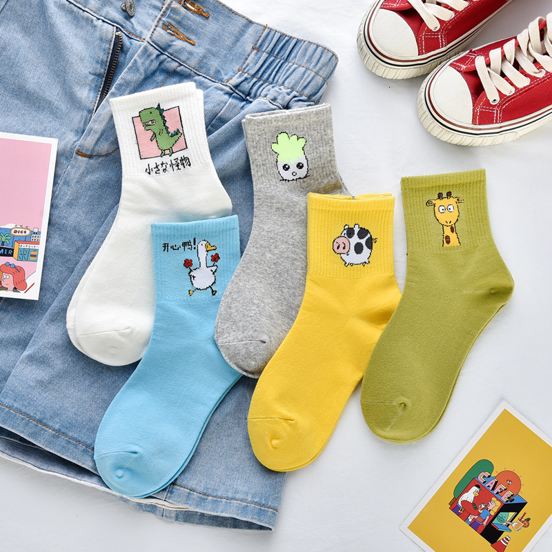 SP&CITY 5Pairs Set Ins Women Cartoon Patterned Short Funny Socks Cotton Casual Joker Sock For Ladies Solid College Wind Sox Tide