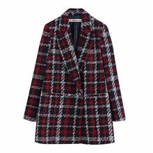 Women Office Lady Plaid Double Breasted Tweed Blazer Coat Vintage Fashion Long S