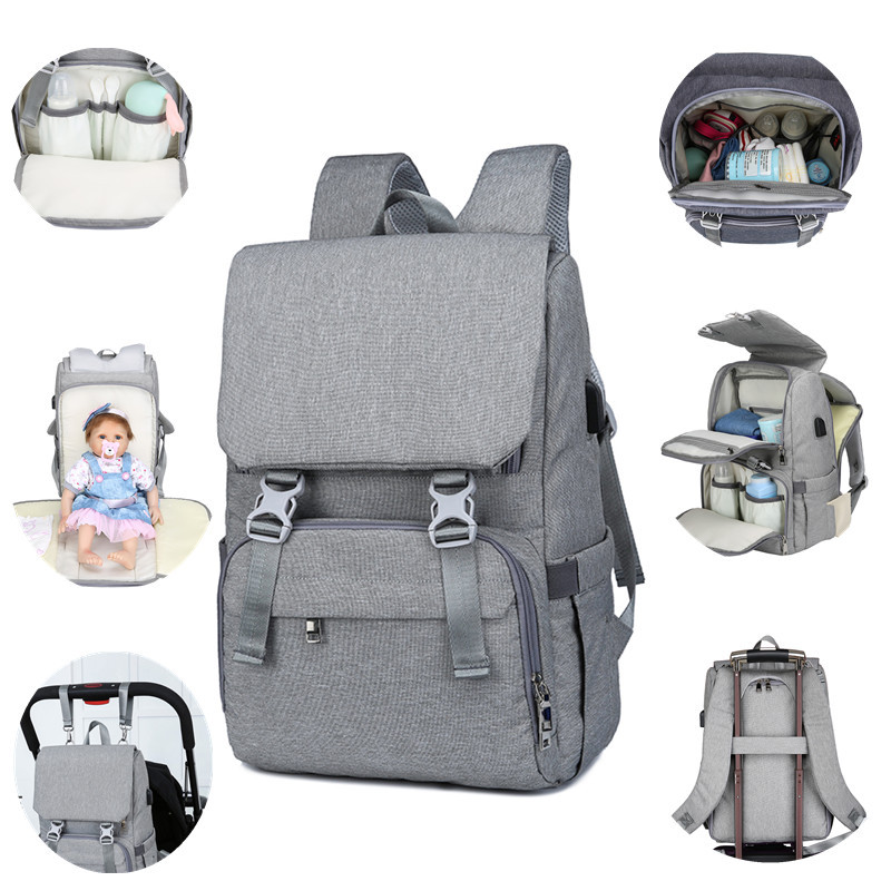 High Capacity USB Warmer Diaper Bags Mummy Maternity Bags Backpack Waterproof Nappy Bag For Mother Mom Baby Stroller Organizer