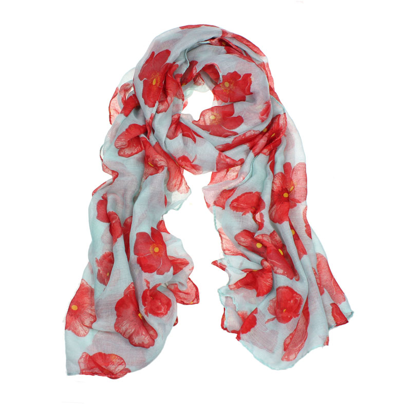 New Women Red Poppy Print Long Scarf Flower Beach Wrap Ladies Stole Shawl Poncho Echarpe Hiver Femme Foulard Femme Luxury Hijab