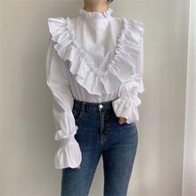 Женская рубашка с оборками элегантная простая Однотонная бантом