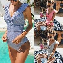 Women Push Up Swimwear One Piece Ruffled Bikini Tankini Set Swimsuit Monokini