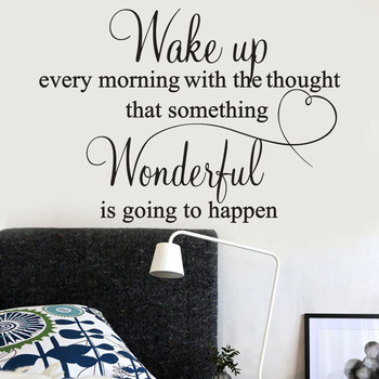 Wake up Every Morning With The Thought That Someting Wonderful Is Going To Happen Quoted Bedroom Wall Stickers PVC Wall Decals image