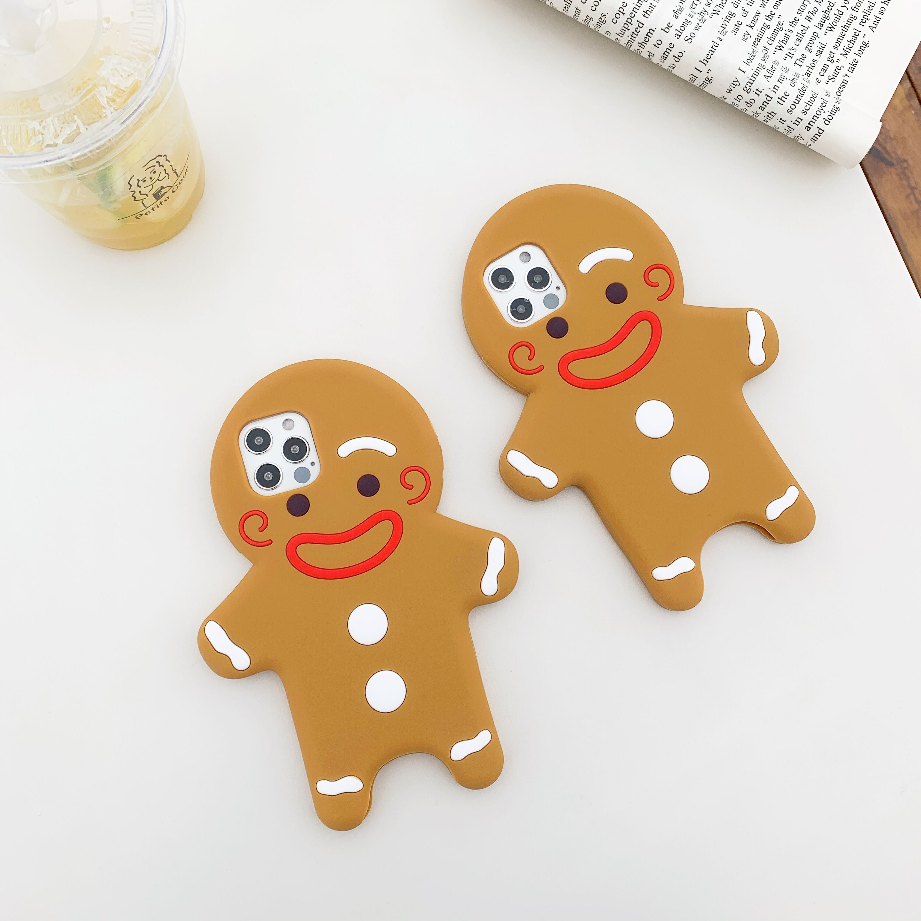 3D Cartoon Gingerbread Man Phone Case For Iphone 12 Pro 11 Pro Max 7 Plus 8 X XS Max XR SE 2020 Cute Soft Silicone Rubber Cover