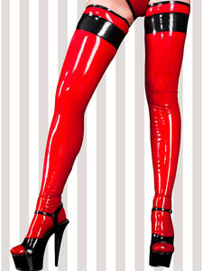Latex Stockings Thigh Sexy Black Long Red with Tirms On-Top Rubber WZ-0020