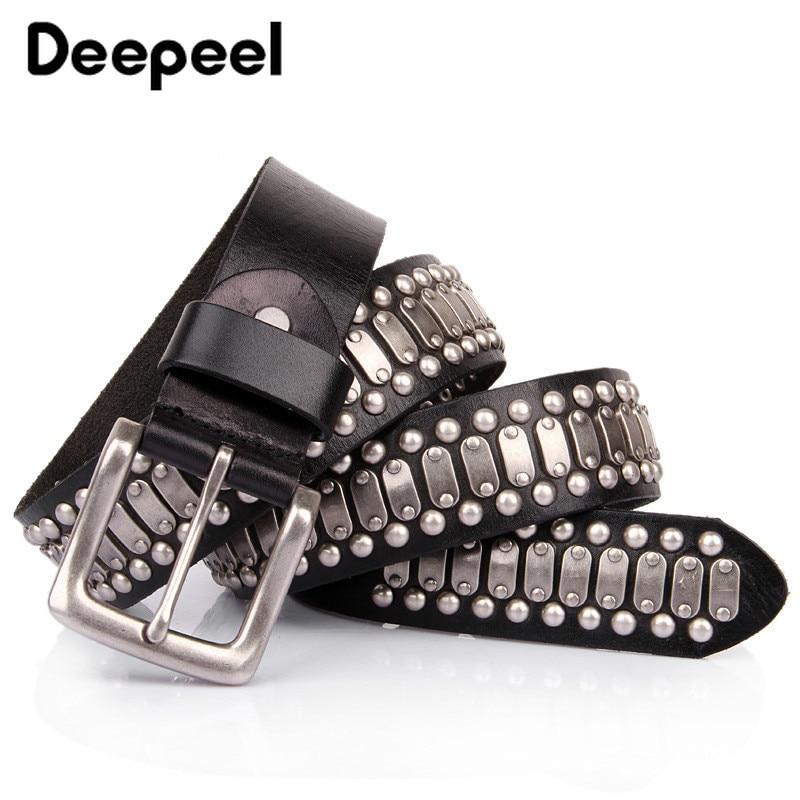 Deepeel 1pc 3.8cm * 105-125cm haute qualité concepteur ceintures pour hommes Rivet Harajuku luxe première couche en cuir ceinture artisanat accessoire