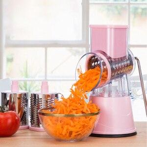 Image 3 - Coupe légumes manuel trancheuse rotation Mandoline trancheuse pomme de terre carotte râpe avec 3 lames de hachoir en acier inoxydable outil de cuisine