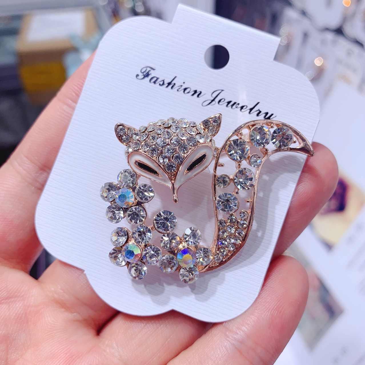 Broche con forma de zorro de zirconia con forma de pin para mujer, moderno suéter, abrigo, sombrero, bufanda, accesorios de ropa, joyería de lujo para banquete