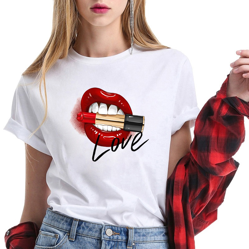 2020 Vintage Ullzang Red Lips Makeup Print T Shirt Women Clothes Camisetas Mujer Funny T Shirts Femme Fashion Tops Tee Plus Size