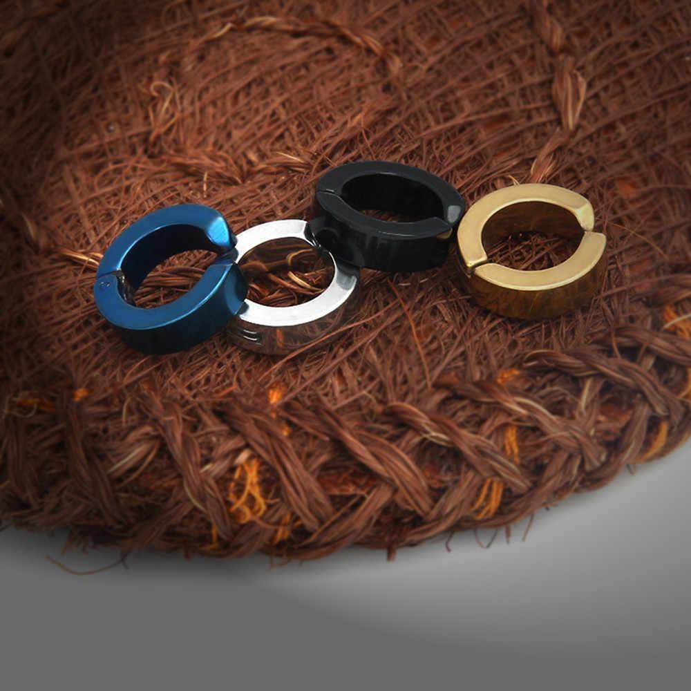 Modern 2019 Anting-Anting Pria Wanita Titanium Baja Bulat Kecil Tidak Ditindik Telinga Manset Klip Perhiasan Liontin Ornamen Kepribadian Hitam