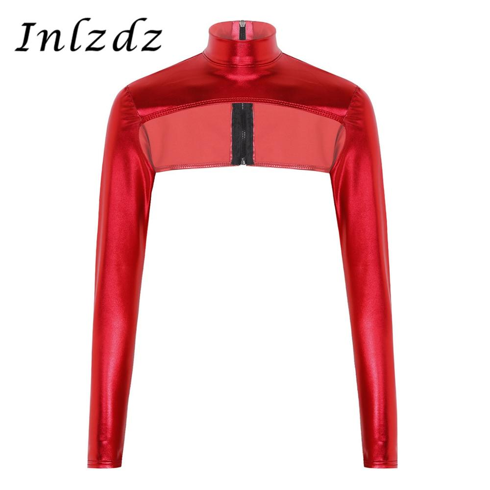 Women Shiny Rave Clothes Pole Dance Crop Top Metallic High Neck Zip Up Form Fitting Shrugs Shirts Rave Clothing Blouses Crop Top