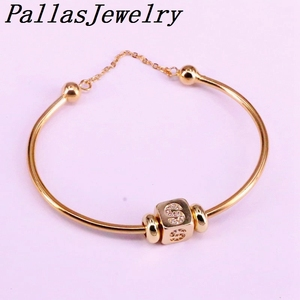 Image 4 - 6Pcs New Hight Quality Gold Color Metal Bangle Inlay Cubic Zirconia 26 Letter Spacer Bead Women Cuff Bangles Bracelets