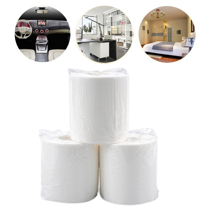 6 Rolls Toilet Paper 3-Layers Thickened Household No Fragrance Bath Tissue Natural Wood Pulp Hand Towels