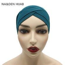 1 個ホット販売モーダル女性イスラム教徒のクリスクロスチューブ帽子 underscarf イスラムインナーキャップ女性帽子イスラム教徒ヒジャーブ 28 色