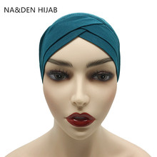 1PCS מכירה לוהטת מודאלי מוסלמי מטפחת נשים כריס צלב צינור כובע underscarf האסלאמי פנימי כובע גברת כובע מוסלמי חיג אב 28 צבעים