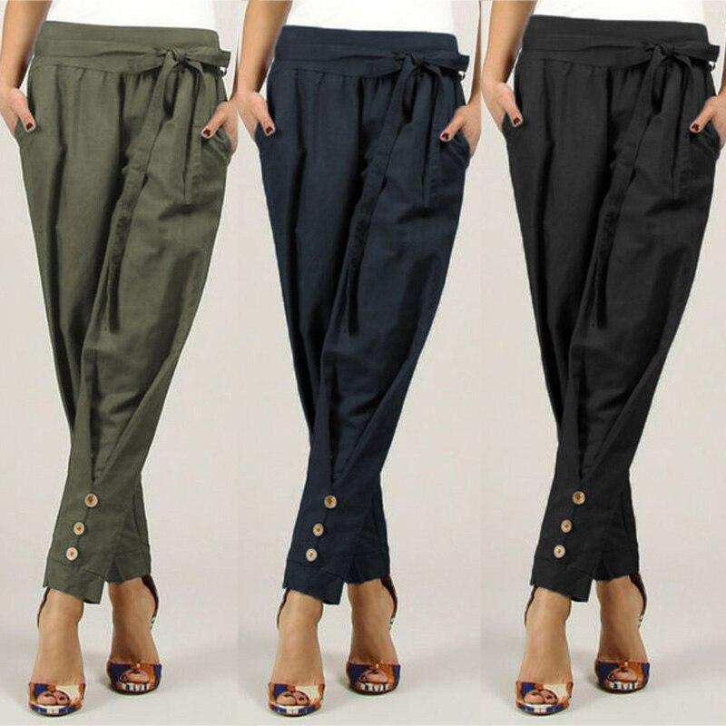 ZANZEA Women High Waist Pencil Pants Casual Solid Pocekts Long Trousers Female Slim Pants With Belt Office Work Pantalones Mujer