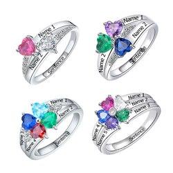 Spersonalizowane 925 sterling silver nazwa własna w kształcie serca pierścień z kamieniem związanym z datą urodzin, aby wysłać matka i kobieta fine jewelry