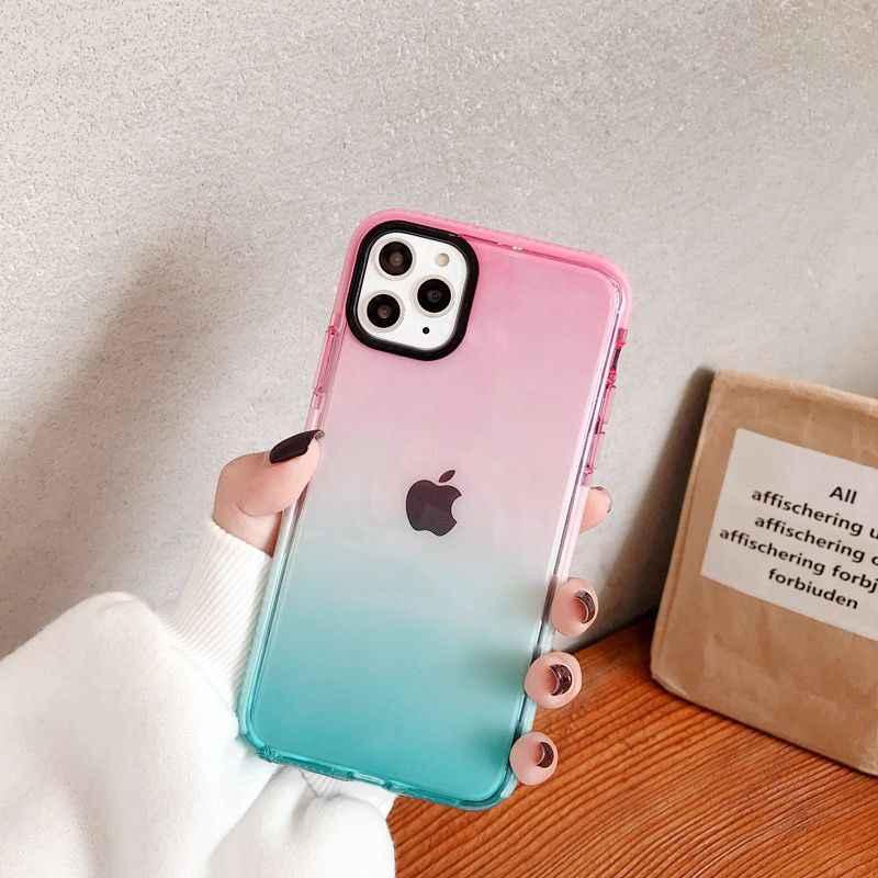 Gradienten Stoßfest Telefon Fall Für iPhone 11 11 Pro Max XR XS Max X 8 7 Plus XS Transparent Weichen anti-knocked Auto Zurück Abdeckung