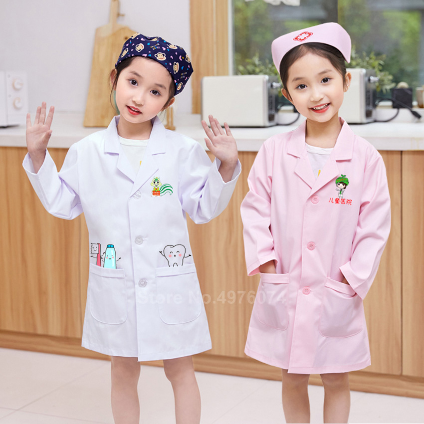 Children Boy Doctor Cosplay Costumes Girl Nurse Uniform Scrub Dentist Cap+dress Medical Clothing Set Halloween Carnival Wear