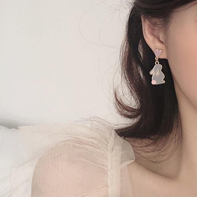 Korean Style Flower Cute Animal Dangle Earrings For Women Moon Stars Kitten Rabbit Balloon Asymmetric Earring Party Jewelry Gift 4