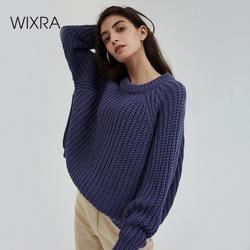 Wixra Strick Chunky Übergroßen Pullover Frauen Lose Feste Dicke Oansatz Pullover Jumper Stilvolle Tops für Weibliche Herbst Winter