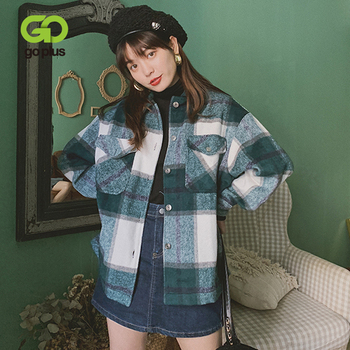 GOPLUS Shirt Oversize Jacket Vintage Spring Women's Plaid Coats and Jackets Long Sleeve Tops Veste Blouson Femme Kleding Vrouwen 1
