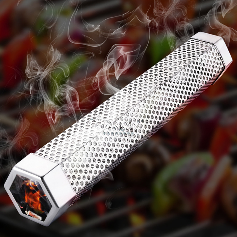 12Inch Square Round BBQ Grill Hot Cold Smoking Mesh Tube Smoke Generator Stainless Pellet Smoker image