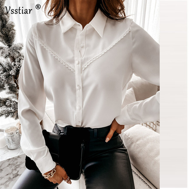 Long Sleeve Lace Blouse Sexy Office Ladies Tops Elegant Patchwork Solid Casual Shirt Plus Size White Black 2021 New Clothing 2