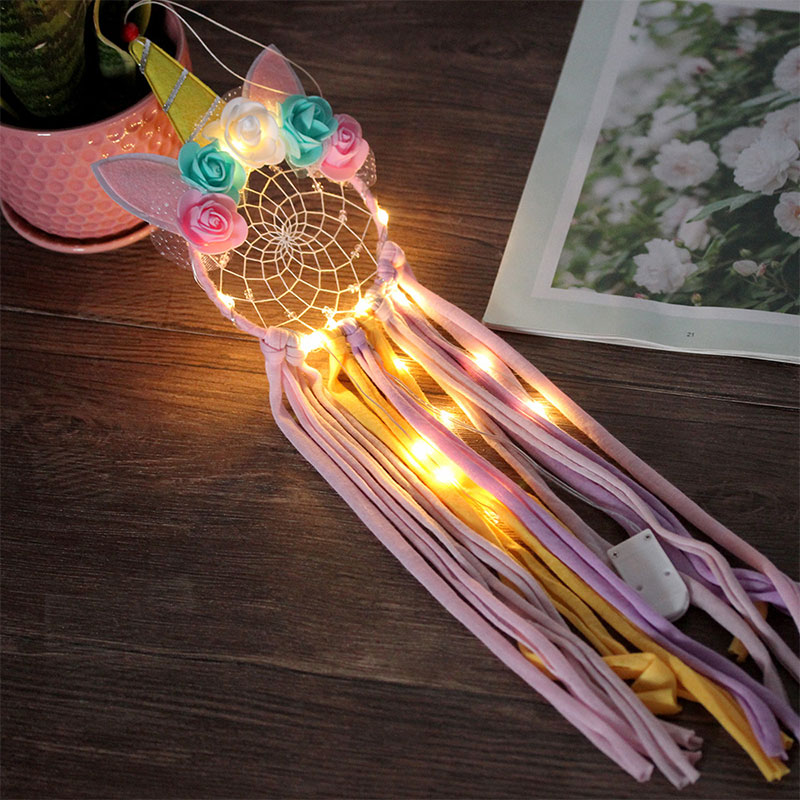 Gold Unicorn Stars Wooden Dream Catcher Hanging Shape Decorating Craft Children