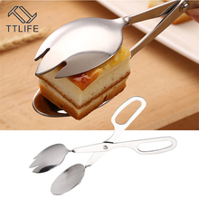 Kitchen-Tool Salad Spoon Fork TTLIFE Egg-Clip Tongs Serving Stainless-Steel