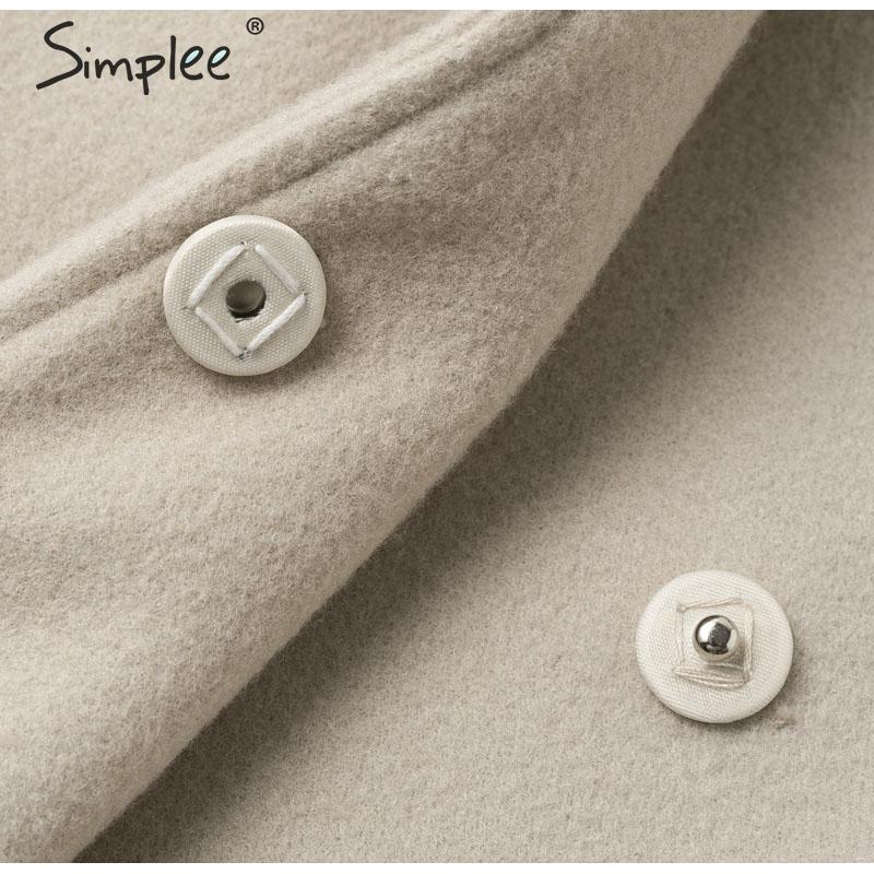 Simplee Wool blend winter tweed coat women Long sleeve elegant sash belt female outwear coat Autumn winter streetwear coat 13