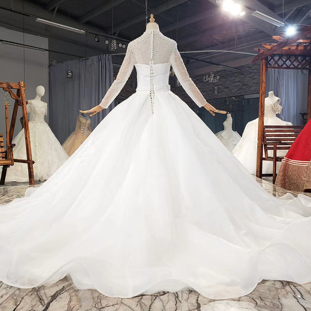 HTL1778 Simple White High Neck With Long Sleeve Pearls Wedding Dress 2020 Ball Gowns Crystal винтажные платья 2
