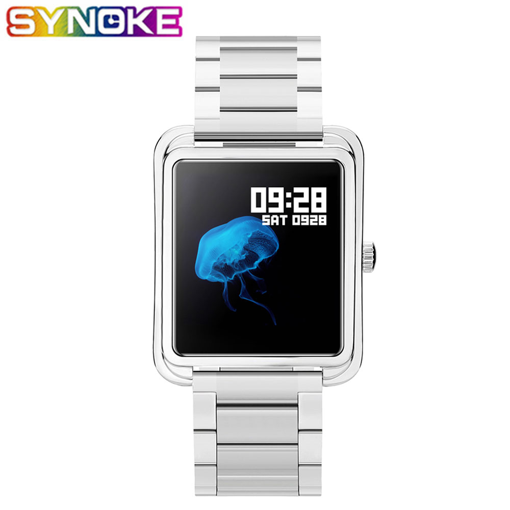 SYNOKE New Arrival Fashion Casual Men's Women's Smart Watches Rectangle IP67 Waterproof Steel Band Alarm Message Reminder Watch