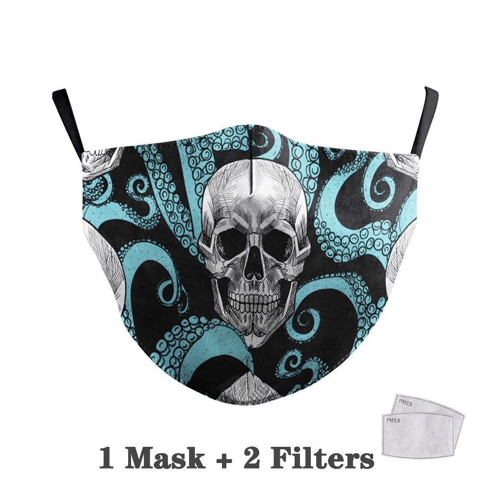 Washable Big Mouth Skull Face Masks 33