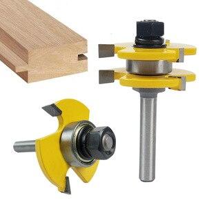 """Image 1 - Hohe qualität 8mm Schaft Zunge & Groove Gemeinsame Montage Router Bit Set 3/4 """"Lager Holz Cutter Holz Fräsen werkzeug"""
