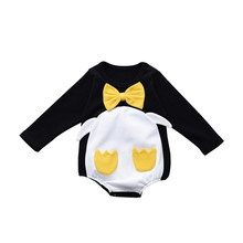 Baby Clothes 2019 Newborn Penguin Cartoon Long-Sleeved Romper Cotton Triangle Jumpsuit For 0-24M