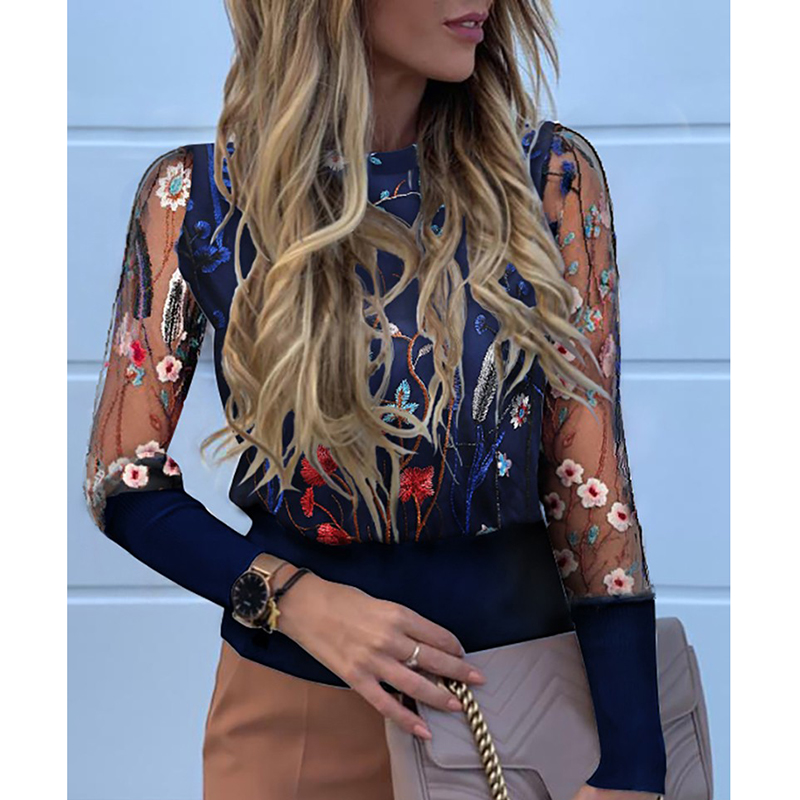 Floral Embroidery Long Sleeve Round Neck Sheer Mesh Insert Blouse Womens Tops Elegant Tansparent Sleeve Shirts Flower Blusa