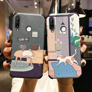 Kreskówkowy relief 3d etui na telefon z kotem dla Huawei Y9 Prime 2019 Honor 8X Max 9X 10i 9 10 20 Pro Nova 5 5i 4 4e P30 lite mate 30 pokrywa