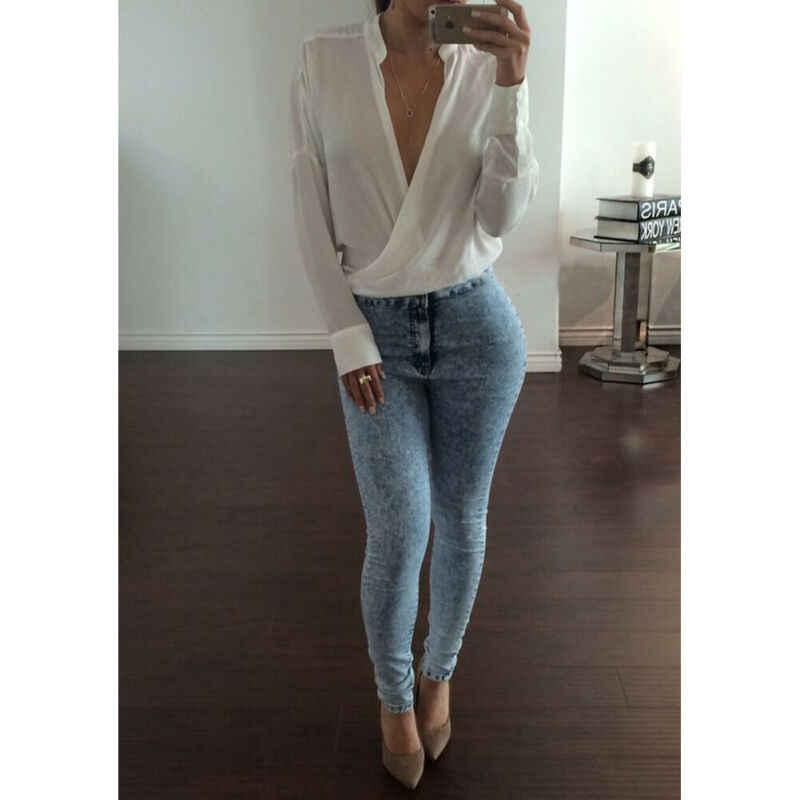 Vrouwen Tops V Hals Trui Lange Tuniek Tops Chiffon Losse Casual Lange Mouw Solide Carrière Lady Office blouse Shirt