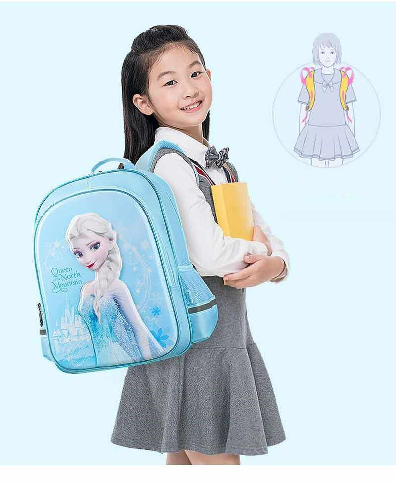 디즈니 냉동 엘사 안나 학교 가방 여자 어린이 새로운 초등학교 배낭 학년 1-4 십대 소녀 선물 mochila escolar