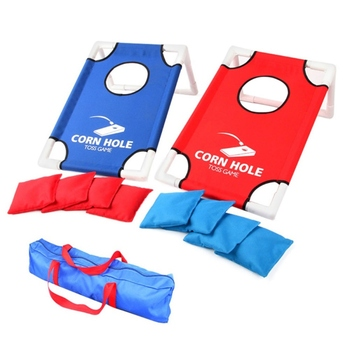 Portable Sandbags Game Set Foldable Kids Parents Toss Cornhole Game Board Set Indoor Outdoor Chipping Pitching Cages Mat *