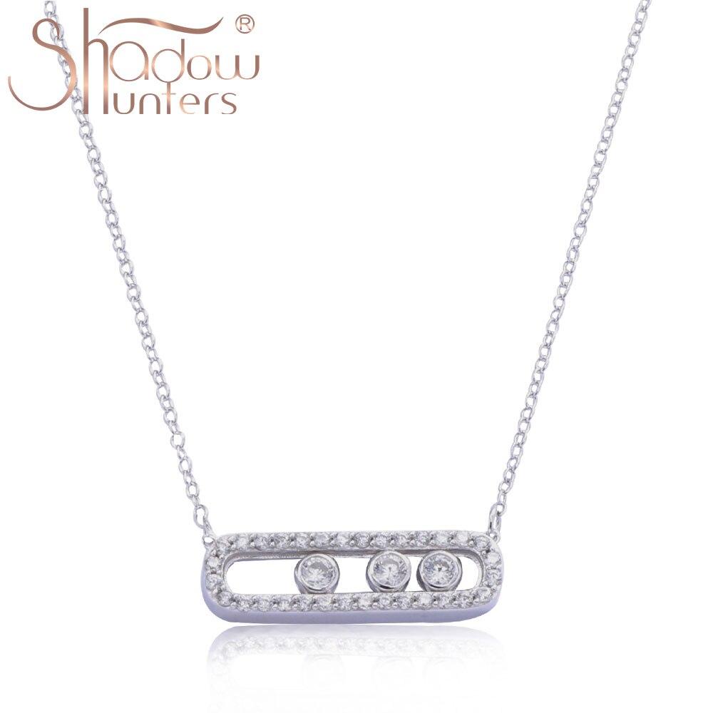 SHADOWHUNTERS authentique 925 en argent Sterling déplacer pierre pendentif longue chaîne collier ras du cou pour les femmes mode fabrication de bijoux