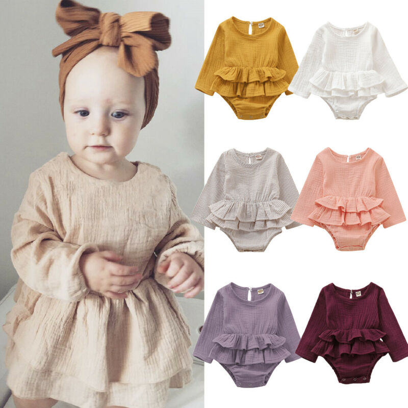 Newborn Baby Girl Clothes Long Sleeve Romper Dress Cotton Linen Outfits