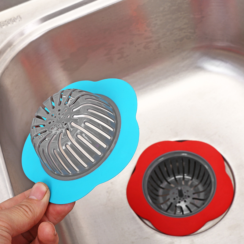 Kitchen Gadgets Sink Colander Sewer Hair Filter Silicone Kitchen Sink Strainer Flower Shaped Shower Sink Drains Cover